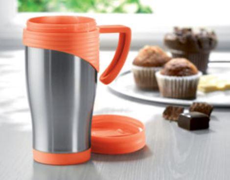 Kaffee-to-Go-Becher aus Edelstahl mit orange-farbenen Akzenten