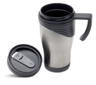 Kaffeebecher Edelstahl + schwarze Akzente