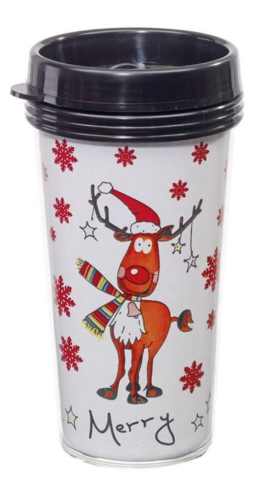 Coffee-to-go im Becher mit weihnachtlichen Motiven