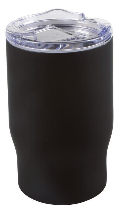 Schwarzer Mehrwegbecher aus Edelstahl